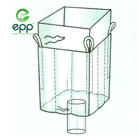 EPP baffle FIBC bag with open top and discharge bottom